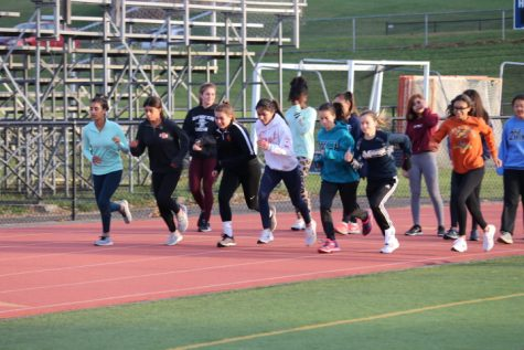 A look at the girls track team during practice.