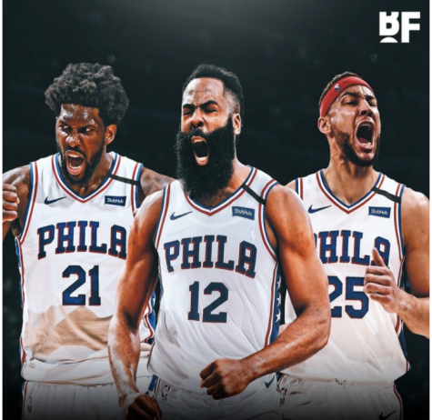 James Harden (middle) alongside with potential star teammates representing the Philadelphia 76ers Credit: Basketball Forever via Twitter